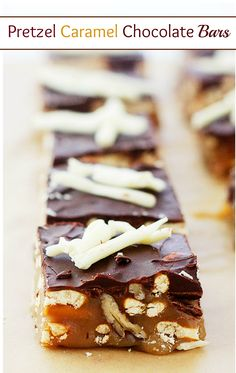 Soft, chewy and crunchy Bars made with pretzels, caramel and chocolate! All my favorite things in 1 amazing homemade candy bar!!