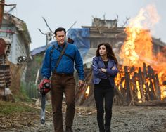 Bruce Campbell as Ash Williams and Dana DeLorenzo as Kelly Maxwell in Ash vs Evil Dead, the new Starz television series. #starz #culttelevision #tvfetish #filmfetish #ashvsevildead #evildead