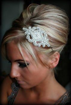 GENNA- Rhinestone Headband, Wedding Headpiece, Ribbon, Crystal, Accessories, Bridal, Wedding, Hair Accessory
