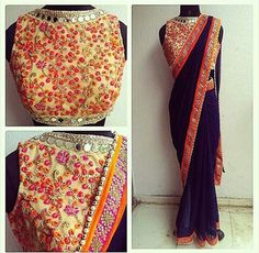 Embroidered saree contrasting saree