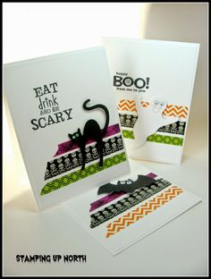 stamping up north, Top Dog Halloween trio dies, Halloween card, washi tape