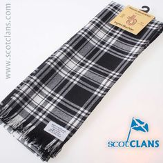 Menzies Black and White Tartan Scarf. Free worldwide shipping available.