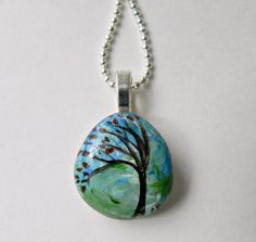 TREE Necklace Hand Painted Stone Rock by Artbycarriepaquette #treependant #treenecklace #handpainted