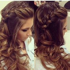 Gorgeous long Brown curly hair, with waves braids and curls. Love the highlights and lowlights in her hair Braids With Curls, Braids For Long Hair, French Braid Hairstyles, Bride Hairstyles, Beautiful Long Hair, Gorgeous Hair, Hair Styles 2016, Curly Hair Styles, Mother Of The Bride Hair