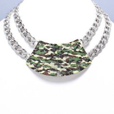 Chunky Camouflage Choker Collar Silver Chain Necklace Fashion Costume Jewelry   eBay