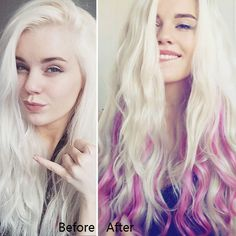 Long wavy blonde hairstyle with nice pink, cannot stop try new hair color Purple Highlights Blonde Hair, Purple Hair, Colored Hair Extensions, Clip In Hair Extensions, Hair Extensions Before And After, Short Blonde, Trending Hairstyles, New Hair Colors, Colorful Hair