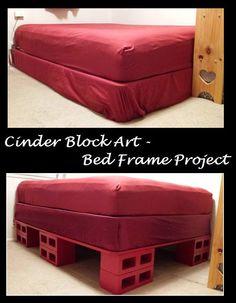 Bed frame & storage  Bedframe storage bed cinder block art cinder block furniture platformbed platform bed - Instructions in following pictures