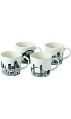 Royal Doulton Charlene Mullen Mugs, London City Scape, Set of 4 Best Price