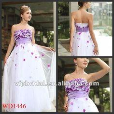 3d flores roxo e branco vestidos de noiva