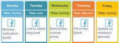 Let's see how the schedule might look on Facebook: