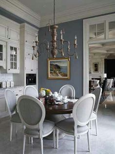 Gorgeous blue/gray wall color...