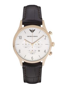 7a7a2d9d14fc Emporio Armani Round Stainless Steel Chronograph Watch Brown Leather Strap  Watch