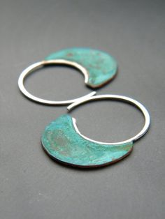 Little Urban Hoops, Verdigris - handmade copper and sterling silver earrings, verdigris patina, made in Italy by alibli on Etsy https://www.etsy.com/listing/82331747/little-urban-hoops-verdigris-handmade