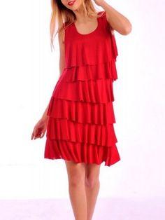 robe volants superposés - robe rouge - autres coloris voir CpourL.fr Colon, Summer Dresses, Fashion, Fashion Ideas, Dress Red, Trendy Outfits, Fall Winter, Dress Ideas, Moda