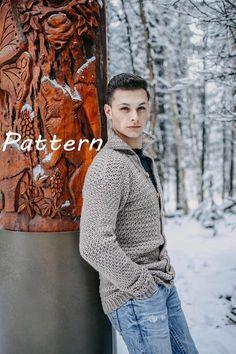 The Dane Cardigan Sweater for Men Crochet Pattern