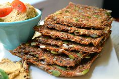 Raw Carrot Bread with Sundried Tomato Hummus