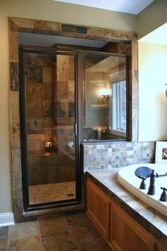 Great use of space! I've been looking for an example of a tub constructed against part of a shower wall. With double sinks on the adjacent wall :)