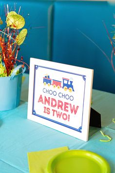 Train Birthday Party: Andrew is 2 2nd Birthday Party Themes, Second Birthday Ideas, Trains Birthday Party, Train Party, Kids Party Themes, Boy Birthday, Party Ideas, Happy Birthday, Party Signs