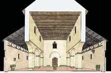 Lorsch: restitution en coupe de l'église abbatiale Allemagne
