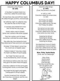 COLUMBUS DAY POEM AND SONGS - TeachersPayTeachers.com