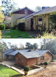 The exterior of this 1970s bungalow, set in a stunning Surrey location, has been transformed by Back to Front Exterior Design. The tired and dated exterior finish was ugraded to beautiful timber cladding, paired with a soft colour scheme on some walls, timber windows and doors and a new roof. #exteriordesign #bungalow #hometransformation #renovation #remodelling Timber Windows, Windows And Doors, Farnham Surrey, Bungalow Exterior, Timber Cladding, House Exteriors, Exterior Design, Tired, 1970s