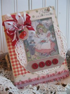Cottage CHERRIES card- little girl and PUPPIES card- Hello dear friend stitched handmade card. $8.75, via Etsy.