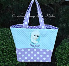 Frozen Princess Tote Bag SALE (ships in 1 day) by CreativeBagsForKids on Etsy