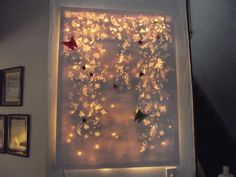 My Pinterest inspired lighted canvas with Origami Butterflies