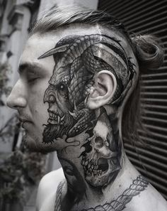 Face tattoo by Rob Borbas – Tattoos – Cozy Places Evil Tattoos, Head Tattoos, Badass Tattoos, Skull Tattoos, Body Art Tattoos, Sleeve Tattoos, Hals Tattoo Mann, Tattoo Hals, Tattoo Life