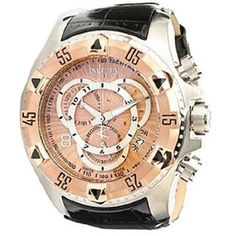 Invicta Watch Invicta. $236.20. Features: Chronograph, Rotating Bezel. Case Material: Stainless Steel. Band Material: Leather. Water Resistant: 200 Meters