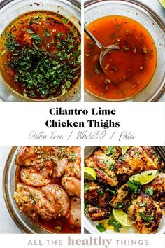 37 minutes · Gluten free Paleo · Serves 4 · Cilantro lime chicken thighs are perfectly juicy, just a little crispy, and full of flavor. Not only is this recipe delicious, it is incredibly easy to make and will take you no time to whip up. Meal… Easy Whole 30 Recipes, Paleo Recipes Easy, Whole30 Recipes, Healthy Chicken Recipes, Lunch Recipes, Healthy Dinner Recipes, Free Recipes, Healthy Meals, Healthy Food