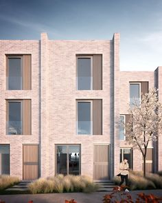 Annabelle Tugby Architects // Architectural render by MDC Visual. New build contemporary muse houses, terrace style. Terrace Building, Brick Building, Brick Architecture, Architecture Visualization, Modern Residential Architecture, Ancient Architecture, Sustainable Architecture, Landscape Architecture, Facade Design