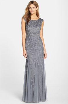 Free shipping and returns on Adrianna Papell Embellished Mermaid Gown (Regular & Petite) at Nordstrom.com. Sparkling sequins and pearlescent beads twinkle across the cap-sleeve bodice and diaphanous skirt of a sweeping evening gown flared by wispy godets.