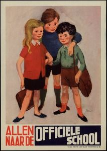 """""""All to the official school"""", Brussels, Stobbaerts, ca. 1956 (Education & culture posters Belgium) #Booktower"""