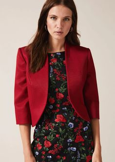 Add the finishing touch to occasionwear with this fitted open front jacket - we love the contemporary peplum hem at the back.Phase Eight Occasion Wear, Occasion Dresses, Designer Jumpsuits, Petite Outfits, Phase Eight, Cool Jackets, Lovely Dresses, Formal Dresses, Fitness Fashion