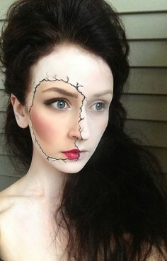 Broken Porcelain Doll Makeup. I think this would also look amazing with a Pop Art style face | 21 Easy Hair And Makeup Ideas For Halloween