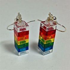 Rainbow Earrings made with LEGO®