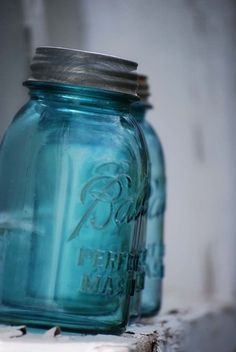 "Antique Blue Canning Jar...clump them in masses! Awesome for flowers..really neat in the bathroom holding all kinds of ""stuff""!"