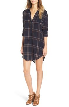 Definitely needing this relaxed boyfriend-inspired fit shirtdress featuring a cool muted plaid pattern and a perfectly draped shirttail hem. Pair with booties or flats depending on the occasion.
