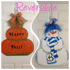 9 Double Duty Decoration Ideas that make decorating a breeze Fall Crafts, Halloween Crafts, Holiday Crafts, Holiday Fun, Christmas Crafts, Diy Crafts, Fall Door Hangers, Burlap Door Hangers, Wood Cutouts