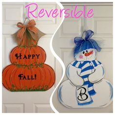Reversible Fall / Winter MDF Door Hanger