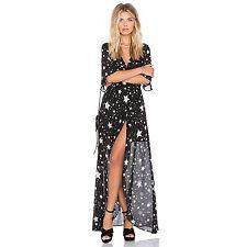 Sexy Women Summer Long Maxi Star Print Evening Party Dress Beach Sundress Size M