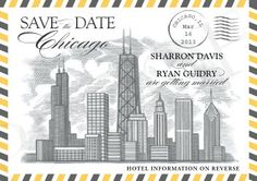 save the date cards with map of chicago | Chicago Themed Skyline Save the Date postcard (RESERVED LISTING ...