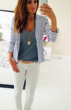 Striped blazer paired w/ white denim. I don't know about the white denim, but it's cute.