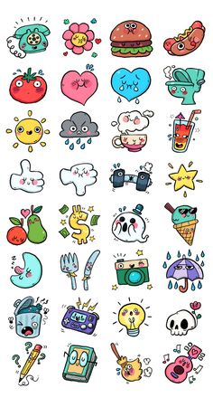 A set of cute and stoopid chat stickers for the Link app. A set of cute and stoopid chat stickers for the Link app. Kawaii Drawings, Doodle Drawings, Easy Drawings, Cute Little Drawings, Mini Drawings, Pencil Drawings, Stickers Kawaii, Cute Stickers, Food Stickers