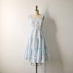 vintage 1970s pale blue prairie sun dress by RockAndRollVintage, $62.00