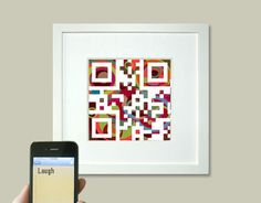 Personalized QR code art (available as a print or a card) with a message of your choosing- I'd love to post these around my classroom!