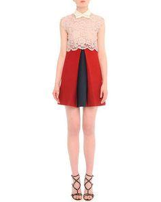 B2Y9P Valentino Scalloped Lace Godet-Pleat Combo Dress