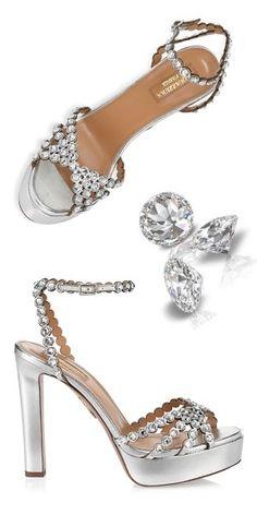 Aquazzura Embellished Platform Sandal Silver Blonde, Aquazzura, Well Dressed, Sandals, Heels, Platform, Accessories, Style, Fashion