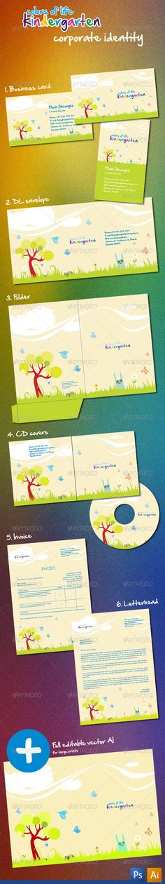 Kindergarten Corporate Identity - Stationery Print Templates